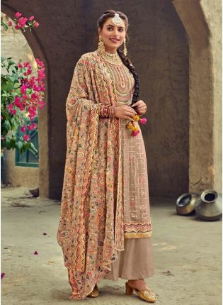 Delightful Beige Color Punjabi Suit With Embroidered Georgette Base