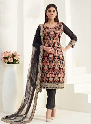 Glamorous Black Churidar straight cut salwar kameez