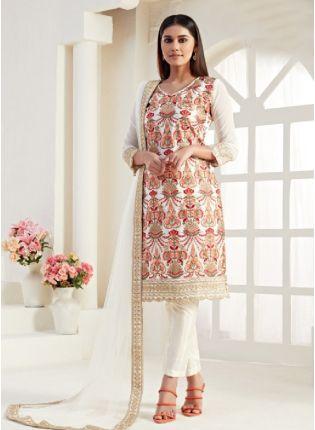 Amazing White Color Georgette Base Pakistani Salwar Suit