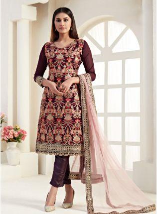 Delightful wine color with churidar straight cut salwar kameez