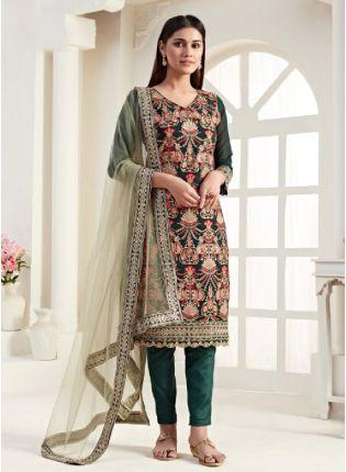 Elegant Green Color Georgette Base With Thread Work Salwar kameez
