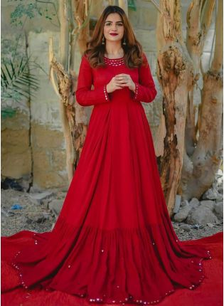 Red Mirrorwork Rayon Festive Anarkali Salwar Suit