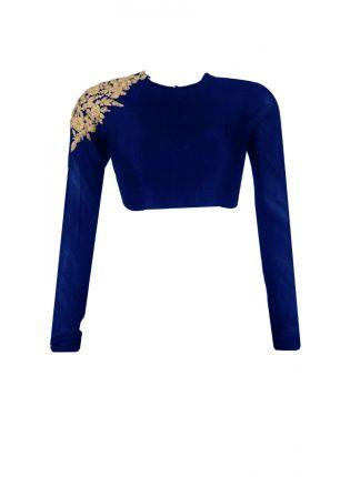 Decent Long Sleeve Navy Blue Color Stitched Blouse