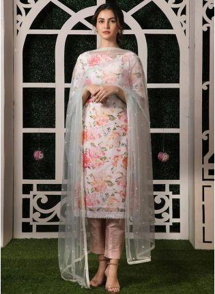 Decent Splendid Off-White Taffeta Silk Digital Printed Pant Style Suit