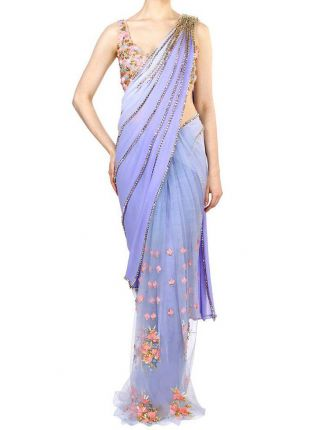 Iconic Sky Blue Color Party Wear Designer Saree