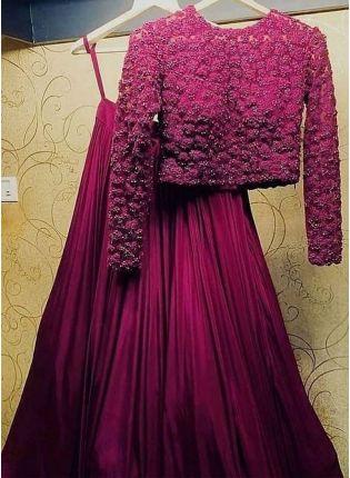 Affordable Miraculous Magenta Purple Taffeta Silk Flared Designer Lehenga Choli