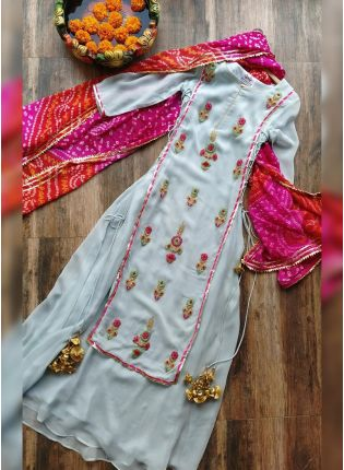 Remarkable Grey Georgette Base Palazzo Suit With Zari Thread Work