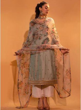 Top Modish Cloud Grey Silk Base Beautiful Palazzo Salwar Suit