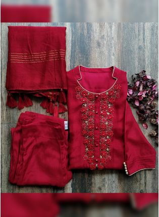 Splendid Mind-blowing Cherry Red Cotton Silk Pant Style Suit With Zari Work