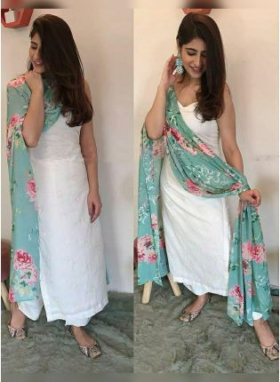 Iconic Modish White Festive Wear Cotton Base Trendy Palazzo Salwar Suit