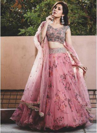 Affordable Designer Pink Color Wedding Wear Organza Printed Floral Lehenga Choli