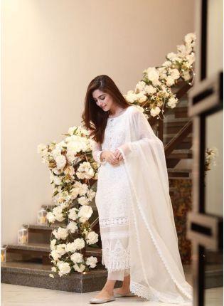 Shop White Color Designer Party Wear Heavy Thread Work Salwar Kameez Suit