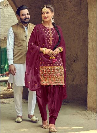 Impressive Wine Color With Dhoti Style Suit Salwar Kameez