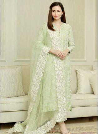 Best Adorable Light Pista Green Cotton Base Festive Wear Pant Style Suit