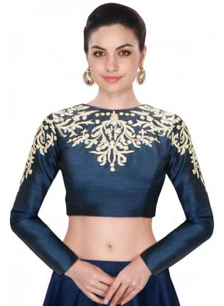 Purchase Blue Embroidered  Designer Raw Silk Long Sleeves Blouse