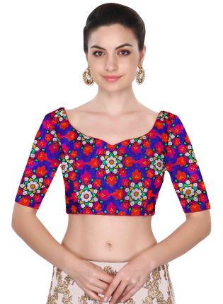 Trendy Blue Color Blouse Stitch Floral Design