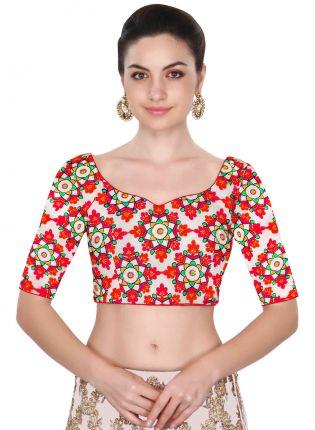 Decent White Color Chain Stitch Floral Design Blouse