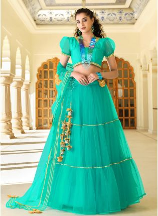 Splendid turquoise Color With Butterfly Net Base Lehenga Suit