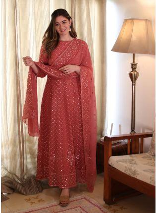 Fantastic Coral Pink Color Georgette Base Festive Wear Designer Anarkali Suit