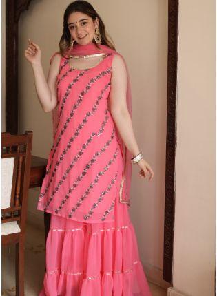 Affordable Spectacular Deep Pink Georgette Festive Wear Designer Sharara Suit