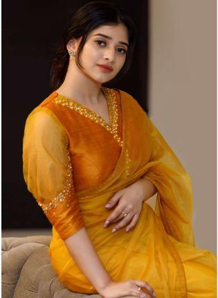 Yellow Hand Work Gotta Work Bollywood Saree