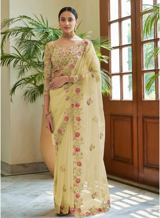 Trendy Lime Yellow Color Organza Base With Heavy Work Saree With Designer Blouse
