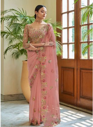 Glitzy Peach Color Organza Base Saree With Matching Blouse