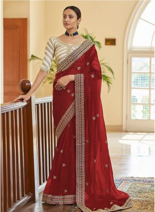 Classy Red Color Organza Base Saree With Heavy Blouse