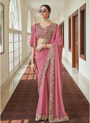 Pink Color Wedding Wear Heavy Thread And Zari Work Saree