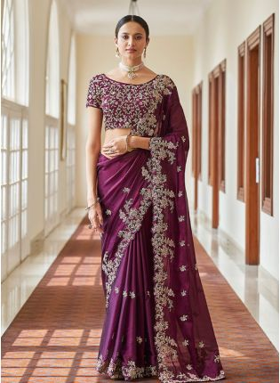 Fabulous Wine Color Embroidery Work Silk Base Heavy Look Saree