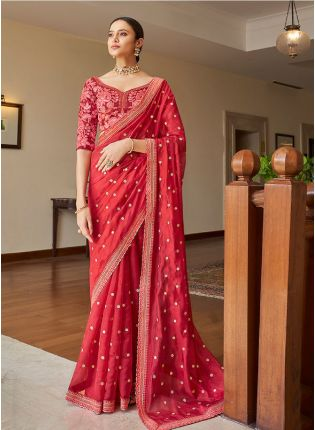Glitzy Neon Pink Color Organza Base Saree With Heavy Embroidered Blouse