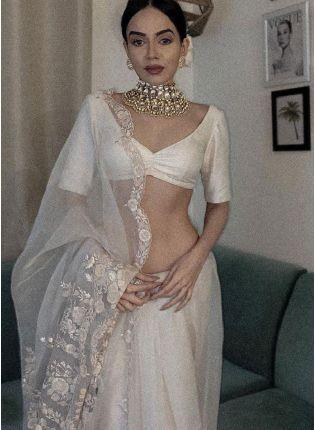 Party Wear White Color Organza Base Bollywood Look Designer Saree