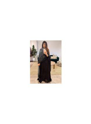 Wondrous Look Black Color Georgette Base Party wear Designer Gown With Heavy Work Dupatta