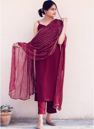 Gorgeous Maroon Color Silk Base Festival Wear Pant Style Suit With Dupatta Set