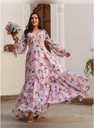 Elegant Peach Color Georgette Base Floral Printed Gown