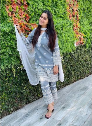 Gorgeous Cloudy Grey Georgette Base Pant Style Suit