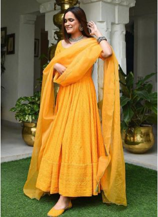 Sunshine Yellow Color Georgette Base Heavy Worked Gown