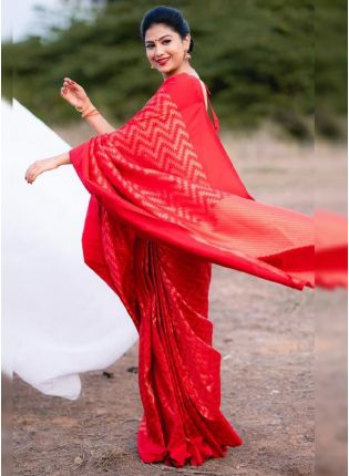 Splendid Red Color With Organic Banarasi Saree
