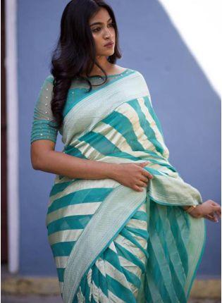 Decent Look Saga Blue Color  Designer Saree
