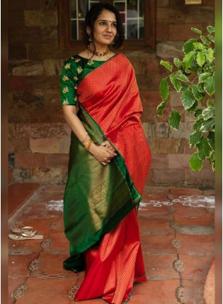 Red Color Silk Base Saree With Contrast Blouse