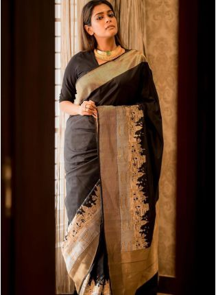 Traditional Look Black Color Kanchipuram Silk Base Saree