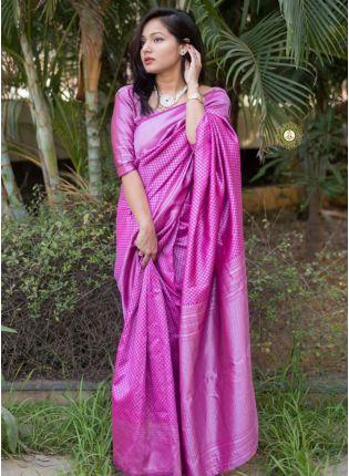 Purple Color Banarasi Silk Base Elegant Saree