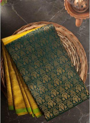 Yellow Festive Saree With Silk Weave Finish