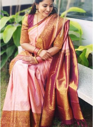 Traditional Look Baby Pink Color Kanjivaram Silk Base Saree With Contact Blouse