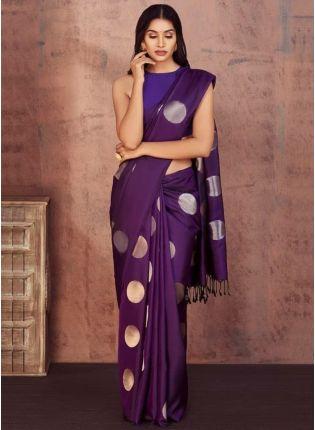 Sweet Purple Color With Silk Base Saree
