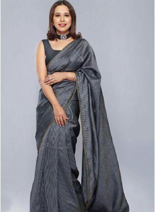 Attractive Dark Grey Color Jacquard Silk Base Saree