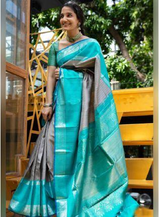 Marvelous Grey Color Kanchipuram Silk Base Zari Work Saree