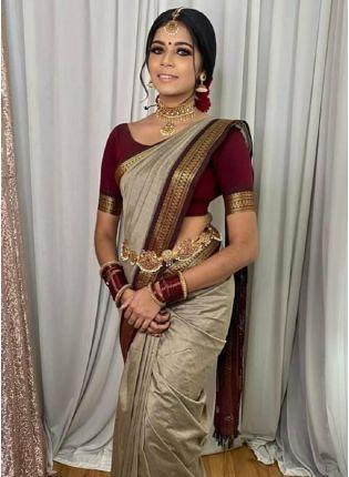 Trendy Grey Color Kanchipuram Silk Base Ceremonial Wear Saree With Contrast Color Blouse
