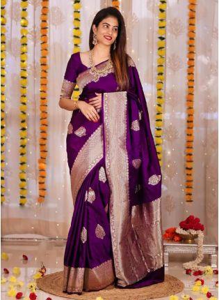 Dazzling Purple Color Silk Base Saree With Blouse Piece