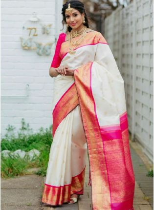 Fabulous White Color Soft Silk Base Wedding Wear Saree With Contrast Color Blouse